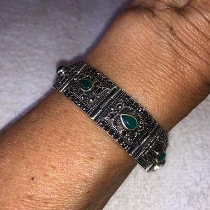 Jewelry - Vintage Malachite & Marcasite Bracelet S. Silver